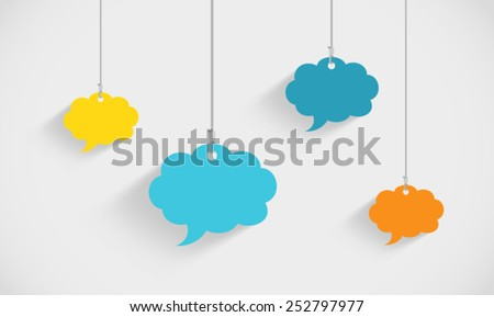 Speech Bubble Clouds Hanging On Strings - stock vector