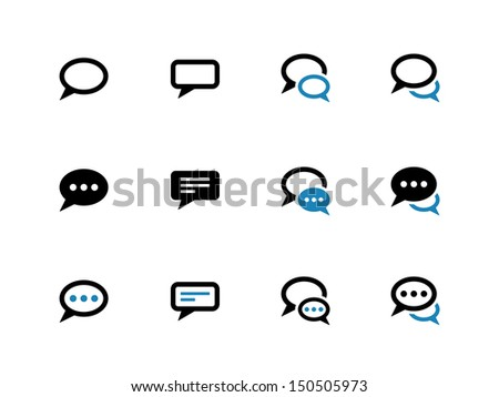 Speech bubble duotone icons on white background. Vector illustration. - stock vector