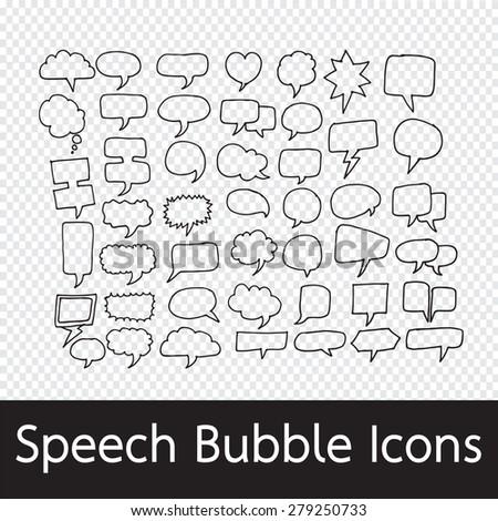 Speech Bubble hand drawn - stock vector
