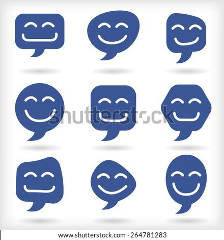 Speech bubble happy smileys - stock vector