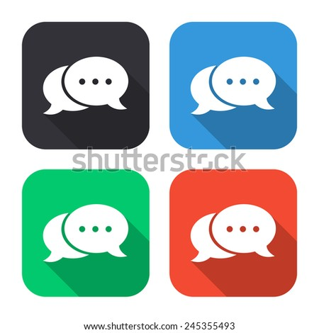 speech bubble icon - colored illustration (gray, blue, green, red) with long shadow - stock vector