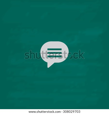 Speech bubble. Icon. Imitation draw with white chalk on green chalkboard. Flat Pictogram and School board background. Vector illustration symbol - stock vector