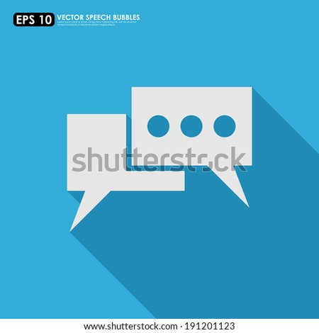 Speech bubble icon on blue background - stock vector