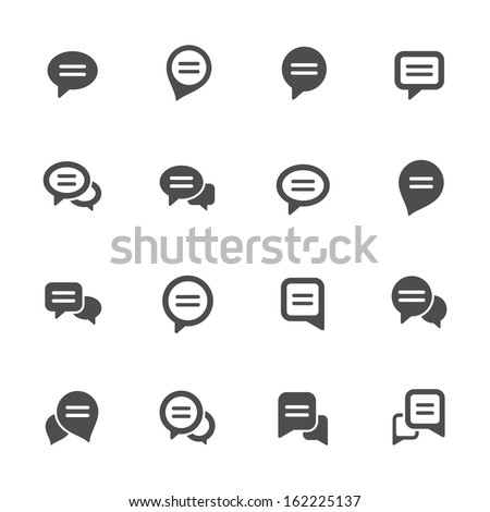 Speech bubble icon set - stock vector