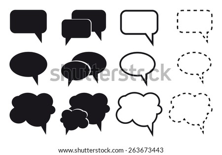 Speech bubble icons on white background. Vector illustration. - stock vector