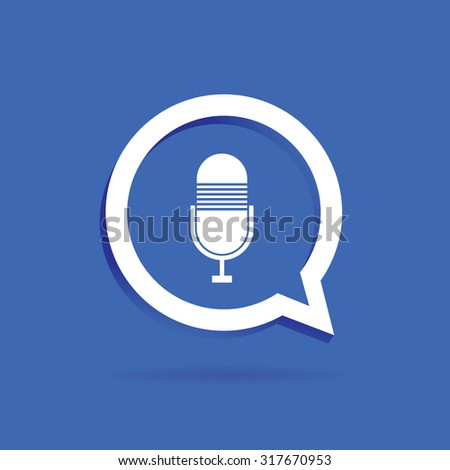 speech bubble label vector with microphone on blue - stock vector
