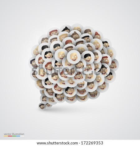 Speech bubble made of smiling faces. Vector illustration. White - stock vector
