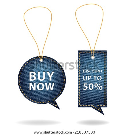 Speech bubble of denim fabric badges, stickers, labels, tags, Vector template design - stock vector