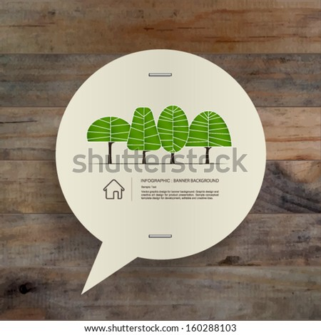 Speech bubble of vintage paper and abstract green tree symbol on wooden texture background, Natural banner idea concept - Vector illustration - stock vector
