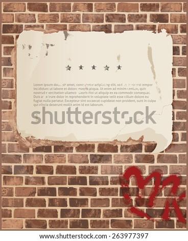 Speech bubble on brick wall texture - stock vector