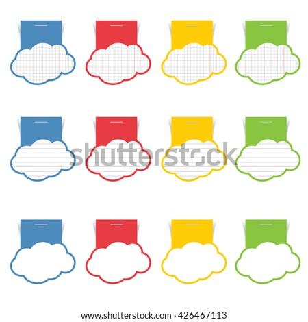 speech bubble set cloud illustration in color - stock vector
