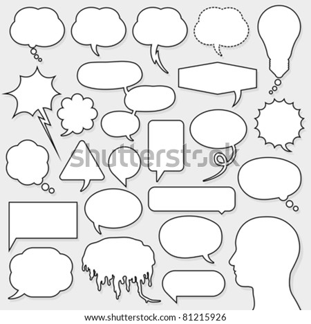 speech bubble set with male head silhouette - stock vector