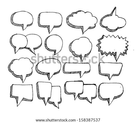 Speech Bubble Sketch hand drawn bubble speech  - stock vector