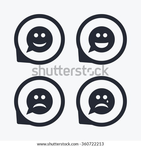 Speech bubble smile face icons. Happy, sad, cry signs. Happy smiley chat symbol. Sadness depression and crying signs. Flat icon pointers. - stock vector
