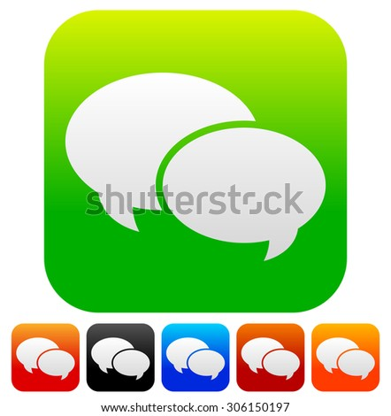 Speech bubble vector graphics. Two overlapping speech, talk bubbles for communication, chat, support concepts. Editable. - stock vector