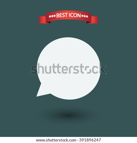 Speech bubble vector icon. Speech bubble icon under the red ribbon.  - stock vector