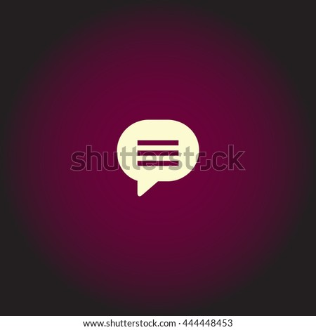Speech bubble. White vector icon on dark background. Flat pictogram - stock vector