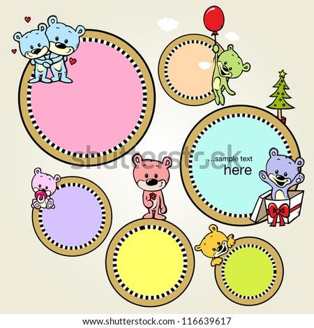 speech bubble with cute bears - vector - stock vector