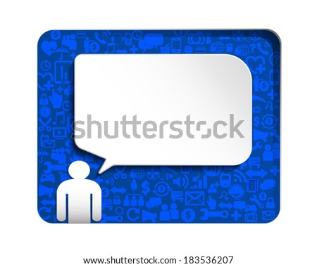 Speech bubble with icon Social network over blue background. - stock vector