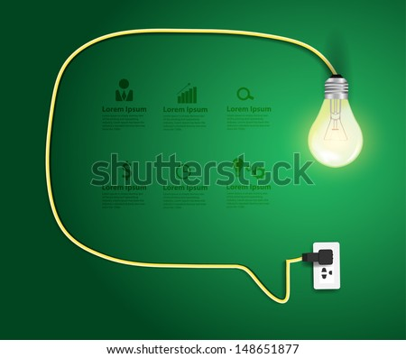 Speech bubble with light bulb abstract infographic modern design template workflow layout, diagram, step up options, Vector illustration template design   - stock vector