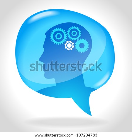 Speech Bubble with man and gears.  File is saved in AI10 EPS - stock vector