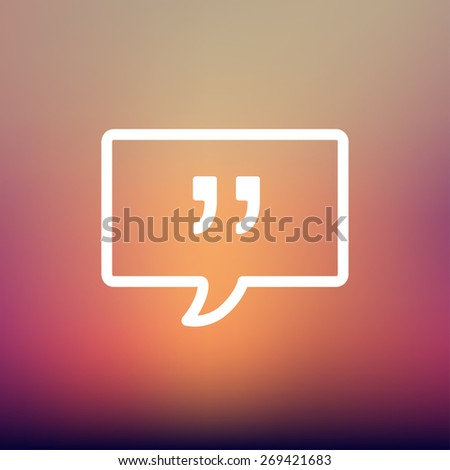 Speech bubble with punctuation symbol icon thin line for web and mobile, modern minimalistic flat design. Vector white icon on gradient  mesh background. - stock vector
