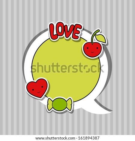 Speech bubble with sticker kawaii doodles. - stock vector