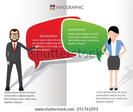 Speech bubbles and businessman info graphic design,clean vector - stock vector