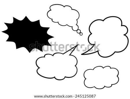 Speech bubbles callout comics shapes isolated on white background - stock vector