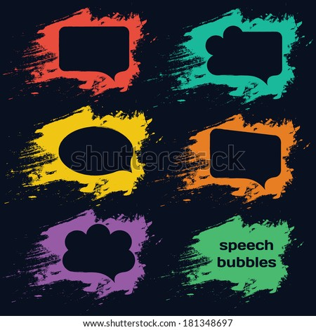 speech bubbles colorful collection set  isolated on black background. Vector illustration  - stock vector