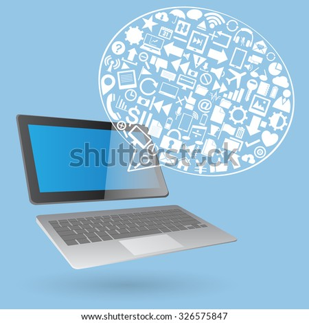 Speech Bubbles Design with Creative web icons, business icons, technology icons and strategy planning icons Idea on laptop computer, Vector Illustration EPS 10. - stock vector