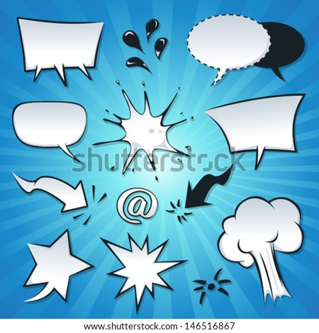 Speech Bubbles, Explosion And Splashes Set/ Illustration of a set of cartoon pop comic speech bubbles, explosion, splashes, spray and design elements - stock vector