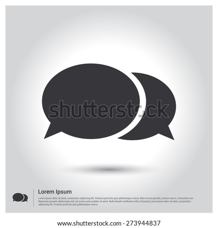 Speech Bubbles Icon. Chat pictograph icon, gray background. Vector illustration. Flat design style - stock vector