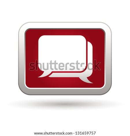 Speech bubbles icon on the red with silver rectangular button. Vector illustration - stock vector