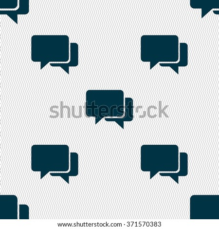 Speech bubbles icon sign. Seamless pattern with geometric texture. Vector illustration - stock vector