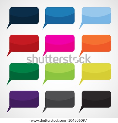 Speech Bubbles in Different Colors - stock vector