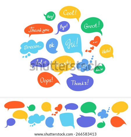 Speech bubbles in different colors with hand written text isolated on white  - stock vector
