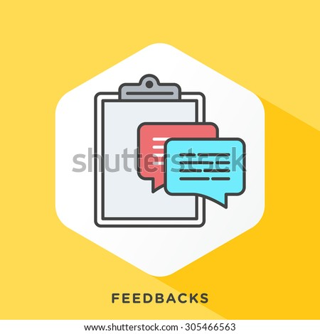 Speech bubbles in front of clipboard icon with dark grey outline and offset flat colors. Modern style minimalistic vector illustration for steps to analyzing customer feedback. - stock vector