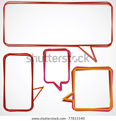 Speech bubbles over light grey background - stock vector