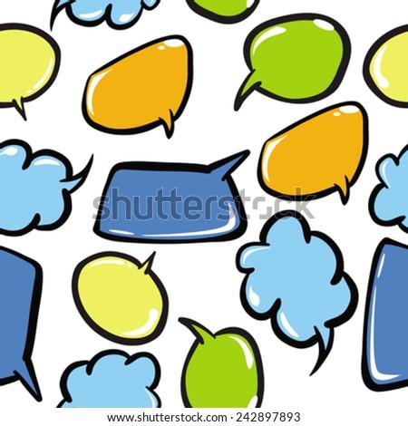 speech bubbles seamless pattern on white - stock vector