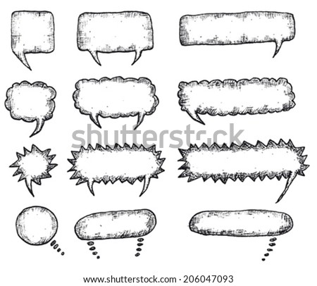 Speech Bubbles Set/ Illustration of a set of doodle hand drawn speech bubbles - stock vector