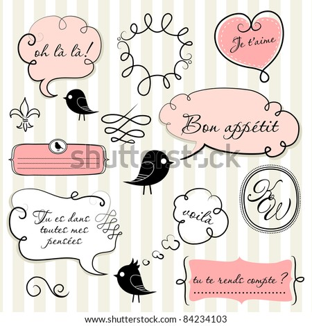 Speech bubbles set in French style - stock vector