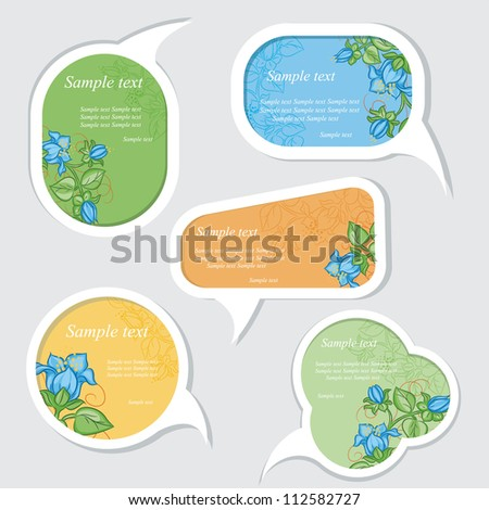 Speech bubbles set with floral elements - stock vector