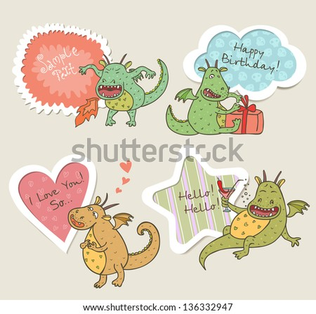 Speech bubbles set with funny dragons - stock vector