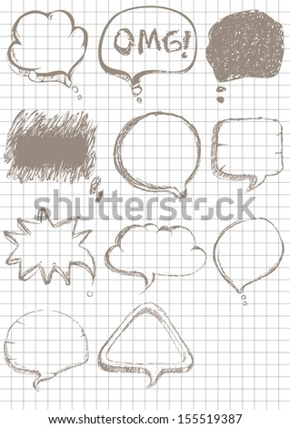 speech bubbles Sketch style on notebook background - stock vector