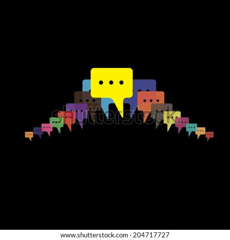 speech bubbles vector - people talking, friends chat, mobile message. This graphic illustration also represents employees meeting, colorful chat icons, internet exchange - stock vector