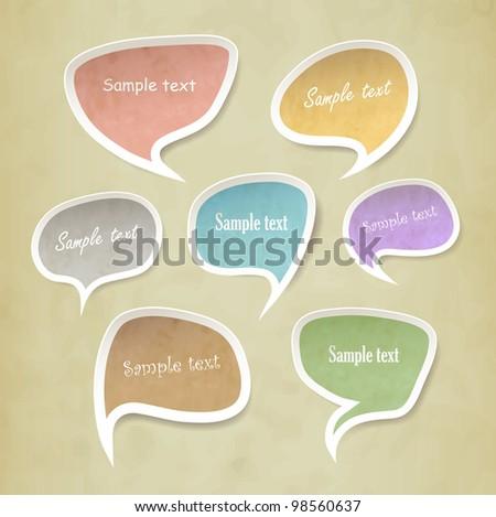 Speech bubbles vector set vintage style - stock vector