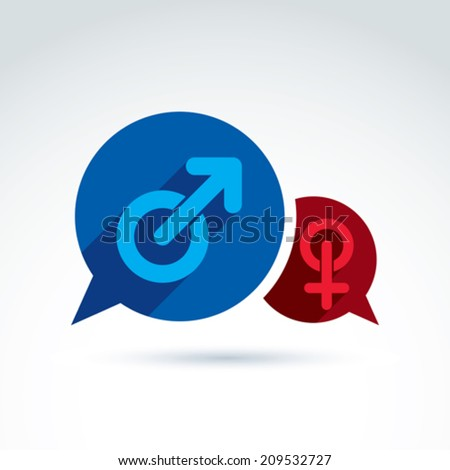 Speech bubbles with blue male and red female signs, gender symbols. Husband and wife conceptual icon �¢?? chat between a love couple, relationship concept.  - stock vector