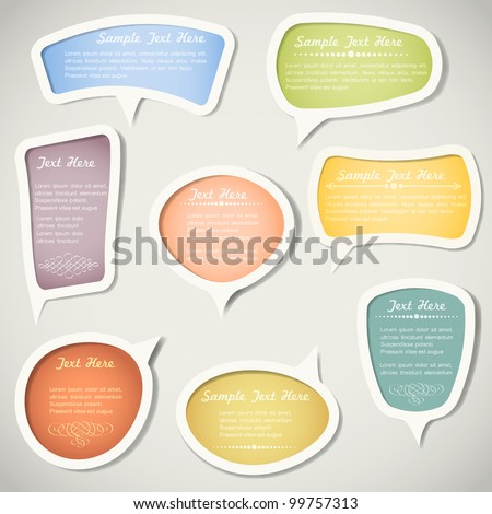 Speech bubbles  with calligraphic elements.Vector set - stock vector