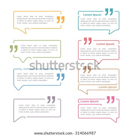 Speech bubbles with quote marks, vector eps10 illustration - stock vector